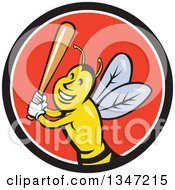 Poster, Art Print Of Cartoon Bee Baseball Player Sports Mascot Batting In A Black White And Red Circle