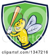 Clipart Of A Cartoon Bee Baseball Player Sports Mascot Batting In A Blue White And Green Shield Royalty Free Vector Illustration