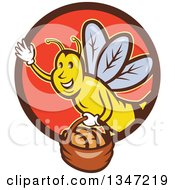 Clipart Of A Retro Cartoon Friendly Bee Flying With A Bread Basket In A Brown And Red Circle Royalty Free Vector Illustration