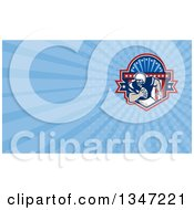 Clipart Of A Retro Gridiron American Football Player Running In A Shield And Blue Rays Background Or Business Card Design Royalty Free Illustration