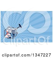 Clipart Of A Retro Camera And Sound Man Team And Blue Rays Background Or Business Card Design Royalty Free Illustration