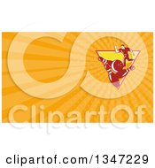Clipart Of A Retro Man Ten Pin Bowling In An Upside Down Triangle And Orange Rays Background Or Business Card Design Royalty Free Illustration