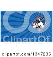 Poster, Art Print Of Retro Male Baseball Player Batting In A Diamond And Blue Rays Background Or Business Card Design