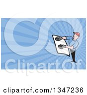 Clipart Of A Cartoon White Male Glass Windshield Installer And Blue Rays Background Or Business Card Design Royalty Free Illustration by patrimonio