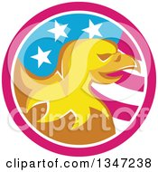 Clipart Of A Retro Cartoon Orange Bald Eagle Head In An American Flag Circle Royalty Free Vector Illustration