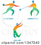 Clipart Of Colorful Track And Field Discus Throw Hammer Throw And Long Jump Athletes With Text Royalty Free Vector Illustration