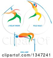 Clipart Of Colorful Track And Field Javelon Throw Pole Vault And High Jump Athletes With Text Royalty Free Vector Illustration
