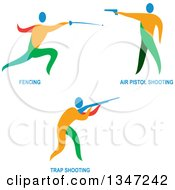 Clipart Of Colorful Athletes Fencing And Shooting Air Pistols And Rifles And Text Royalty Free Vector Illustration
