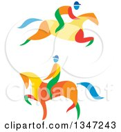 Clipart Of Colorful Equestrians On Horses Royalty Free Vector Illustration by patrimonio
