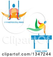 Clipart Of Colorful Gymnast Athletes On Still Rings And The Pommel Horse With Text Royalty Free Vector Illustration by patrimonio