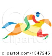 Clipart Of A Colorful Equestrian Racing A Horse Royalty Free Vector Illustration