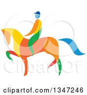 Clipart Of A Colorful Equestrian On A Horse Royalty Free Vector Illustration
