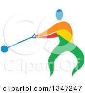 Clipart Of A Colorful Track And Field Athlete Hammer Throwing Royalty Free Vector Illustration