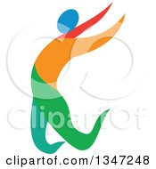 Clipart Of A Colorful Track And Field Athlete Long Jumping Royalty Free Vector Illustration