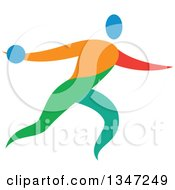 Clipart Of A Colorful Track And Field Athlete Discus Thrower Royalty Free Vector Illustration