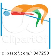 Clipart Of A Colorful Track And Field Athlete High Jumping Royalty Free Vector Illustration