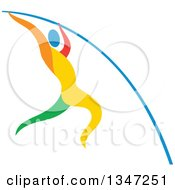 Clipart Of A Colorful Track And Field Athlete Pole Vaulting Royalty Free Vector Illustration