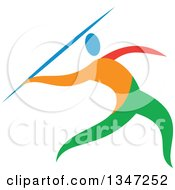 Clipart Of A Colorful Track And Field Athlete Javelin Thrower Royalty Free Vector Illustration