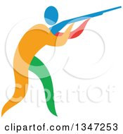 Clipart Of A Colorful Athlete Trap Shooting Royalty Free Vector Illustration