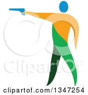 Clipart Of A Colorful Athlete Shooting An Air Pistol Royalty Free Vector Illustration