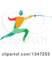 Clipart Of A Colorful Athlete Fencing Royalty Free Vector Illustration