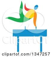 Colorful Gymnast Athlete On A Pommel Horse