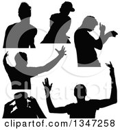 Clipart Of Black Silhouetted Party Guys Dancing Royalty Free Vector Illustration