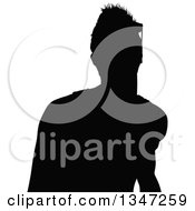 Clipart Of A Black Silhouetted Party Guy Dancing Royalty Free Vector Illustration