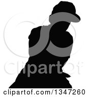 Clipart Of A Black Silhouetted Party Guy Dancing 2 Royalty Free Vector Illustration