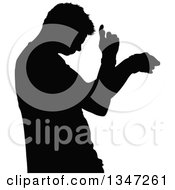 Clipart Of A Black Silhouetted Party Guy Dancing 3 Royalty Free Vector Illustration