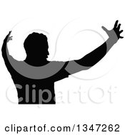 Clipart Of A Black Silhouetted Party Guy Dancing 4 Royalty Free Vector Illustration