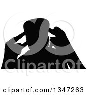 Clipart Of A Black Silhouetted Party Guy Dancing 5 Royalty Free Vector Illustration