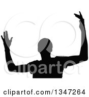 Clipart Of A Black Silhouetted Party Guy Dancing 6 Royalty Free Vector Illustration