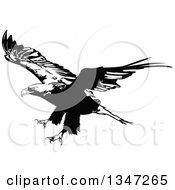 Clipart Of A Black And White Flying Bald Eagle 4 Royalty Free Vector Illustration