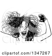 Clipart Of A Grayscale Party Woman Her Hair Flying Royalty Free Vector Illustration