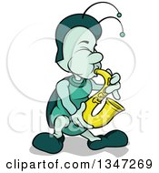 Cartoon Beetle Playing A Saxophone