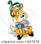 Clipart Of A Cartoon Fox Wearing Snorkel Gear And An Inner Tube Royalty Free Vector Illustration by dero