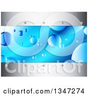 Clipart Of A Background Of Bubbles In Blue Water Borderd With Metal And Screwd Royalty Free Vector Illustration