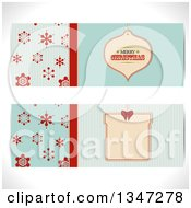Clipart Of Retro Turquoise And Red Snowflake And Christmas Bauble Ornament Tag Website Banners Royalty Free Vector Illustration