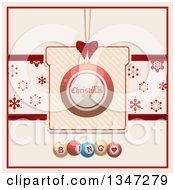 Clipart Of A Suspended Red Merry Christmas Bauble Ornament On A Gift With A Snowflake Banner Over Bingo Balls Royalty Free Vector Illustration by elaineitalia