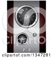 Clipart Of A 3d Music Speaker With A Clock And Knobs Over Perforated Metal Royalty Free Vector Illustration by elaineitalia