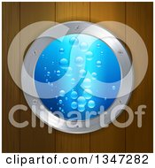 Clipart Of A Round 3d Porthole Window With Blue Water And Bubles On Wood Paneling Royalty Free Vector Illustration