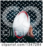 Clipart Of Hands Holding A Rugby Ball Over Diamond Plate Metal And Flares Royalty Free Vector Illustration