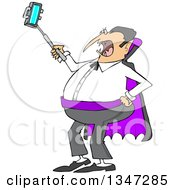 Clipart Of A Cartoon Chubby Halloween Dracula Vampire Taking A Selfie With A Cell Phone Royalty Free Vector Illustration
