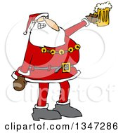 Clipart Of A Cartoon Christmas Santa Claus Cheering And Holding Up A Beer Mug Royalty Free Vector Illustration