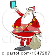 Cartoon Christmas Santa Claus Taking A Selfie With A Cell Phone