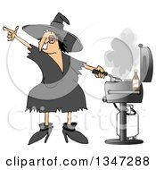 Cartoon Chubby Halloween Witch Grilling On A Bbq