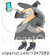 Clipart Of A Cartoon Chubby Halloween Witch Taking A Selfie With A Cell Phone Royalty Free Vector Illustration