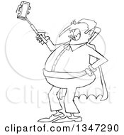 Outline Clipart Of A Cartoon Black And White Chubby Halloween Dracula Vampire Taking A Selfie With A Cell Phone Royalty Free Lineart Vector Illustration