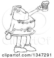 Cartoon Black And White Christmas Santa Claus Cheering And Holding Up A Beer Mug